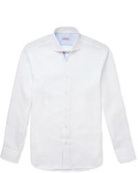 Camisa de Manga Larga de Lino Blanca de Brioni