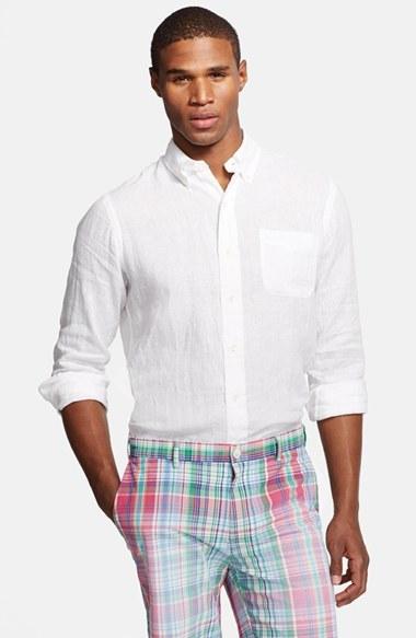 69d9455c1cfc9 ... Camisa de manga larga de lino blanca de Polo Ralph Lauren ...