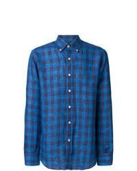 Camisa de manga larga de lino de cuadro vichy azul de Canali