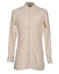 Camisa de manga larga de lino en beige