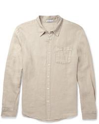 Camisa de manga larga de lino en beige de James Perse