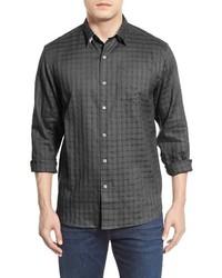 Camisa de manga larga de lino en gris oscuro