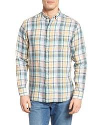Camisa de manga larga de lino en verde menta