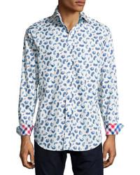 Camisa de manga larga de paisley en blanco y azul