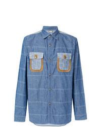Camisa de manga larga de rayas horizontales azul