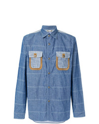 Camisa de manga larga de rayas horizontales azul de Junya Watanabe MAN