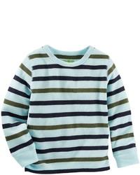 Camisa de manga larga de rayas horizontales celeste