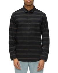 Camisa de manga larga de rayas horizontales negra