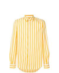Camisa de manga larga de rayas verticales amarilla