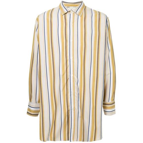 Camisa de manga larga de rayas verticales amarilla de Jieda