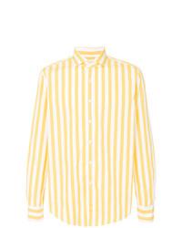 Camisa de manga larga de rayas verticales amarilla de Xacus