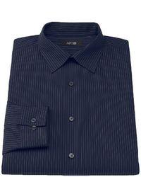 Camisa de manga larga de rayas verticales azul marino