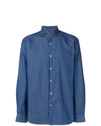 Camisa de manga larga de rayas verticales azul marino de Al Duca D'Aosta 1902
