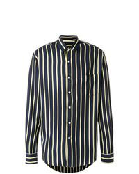 Camisa de manga larga de rayas verticales azul marino de AMI Alexandre Mattiussi