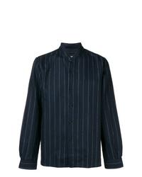 Camisa de manga larga de rayas verticales azul marino de Costumein