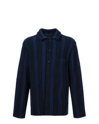 Camisa de manga larga de rayas verticales azul marino de Haider Ackermann
