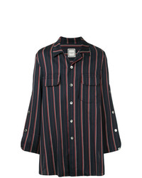 Camisa de manga larga de rayas verticales azul marino de Wooyoungmi