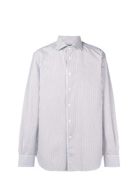 Camisa de manga larga de rayas verticales blanca de Corneliani