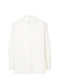 Camisa de manga larga de rayas verticales blanca de Kent & Curwen