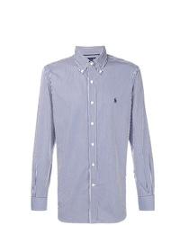 Camisa de manga larga de rayas verticales celeste de Ralph Lauren
