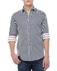Camisa de manga larga de rayas verticales en azul marino y blanco