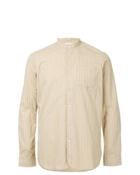 Camisa de manga larga de rayas verticales en beige de Kent & Curwen
