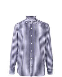 Camisa de manga larga de rayas verticales en blanco y azul de Barba