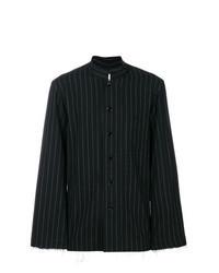Camisa de manga larga de rayas verticales en negro y blanco