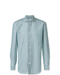 Camisa de manga larga de rayas verticales en verde menta de Kiton