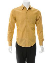 Camisa de manga larga de rayas verticales mostaza