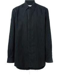 Camisa de manga larga de rayas verticales negra