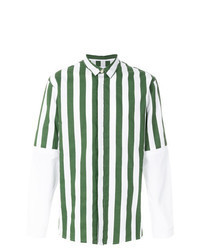 Camisa de manga larga de rayas verticales verde oscuro