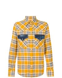 Camisa de manga larga de tartán amarilla de DSQUARED2
