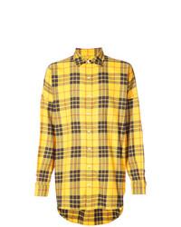 Camisa de manga larga de tartán amarilla de Mostly Heard Rarely Seen
