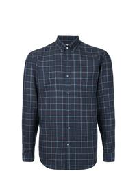 Camisa de manga larga de tartán azul marino de Gieves & Hawkes