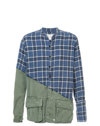 Camisa de manga larga de tartán azul marino de Greg Lauren