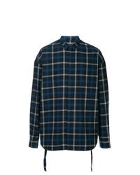 Camisa de manga larga de tartán azul marino de Juun.J