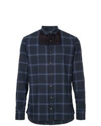 Camisa de manga larga de tartán azul marino de Kolor