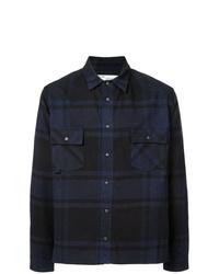 Camisa de manga larga de tartán azul marino de Off-White