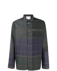 Camisa de manga larga de tartán azul marino de Stephan Schneider