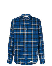 Camisa de manga larga de tartán azul marino de Tintoria Mattei