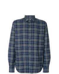 Camisa de manga larga de tartán azul marino de Xacus
