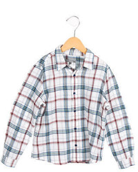 Camisa de manga larga de tartán blanca