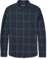 Camisa de manga larga de tartán en azul marino y verde