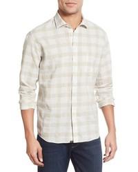 Camisa de manga larga de tartán en beige