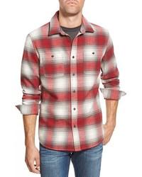 Camisa de manga larga de tartán en blanco y rojo