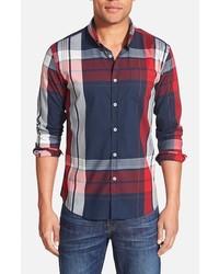 Camisa de manga larga de tartán en blanco y rojo y azul marino de 7 Diamonds