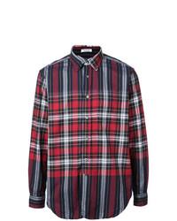 Camisa de manga larga de tartán en blanco y rojo y azul marino de Engineered Garments