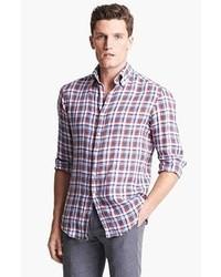 Camisa de manga larga de tartán en blanco y rojo y azul marino de Michael Bastian