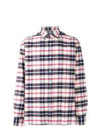 Camisa de manga larga de tartán en blanco y rojo y azul marino de Woolrich